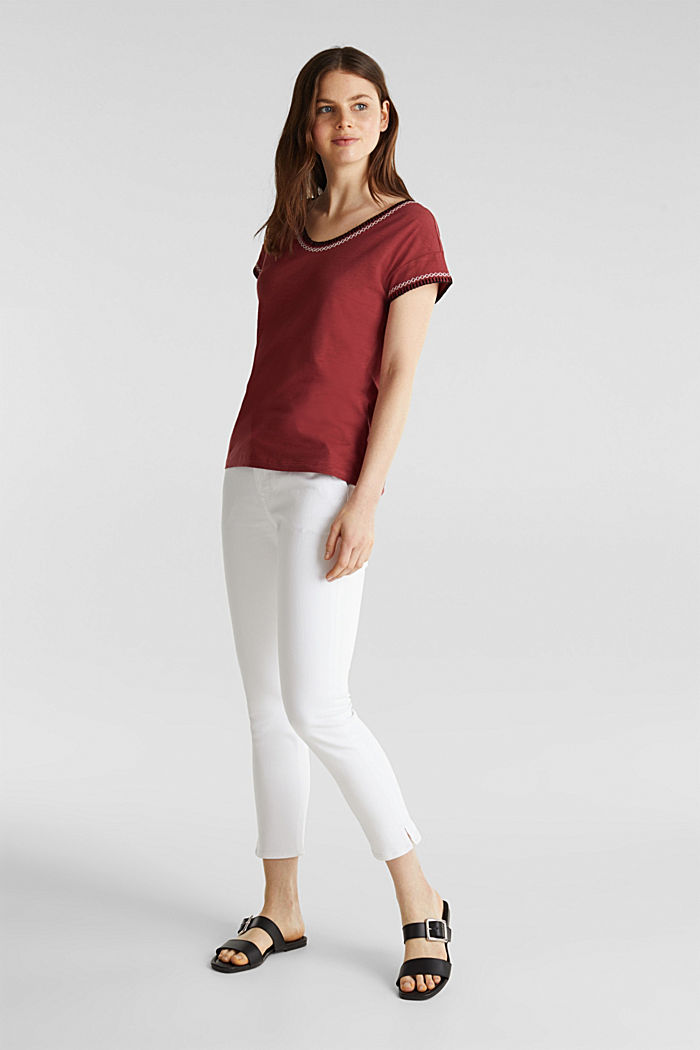 Embroidered top made of organic cotton, DARK RED, detail image number 1
