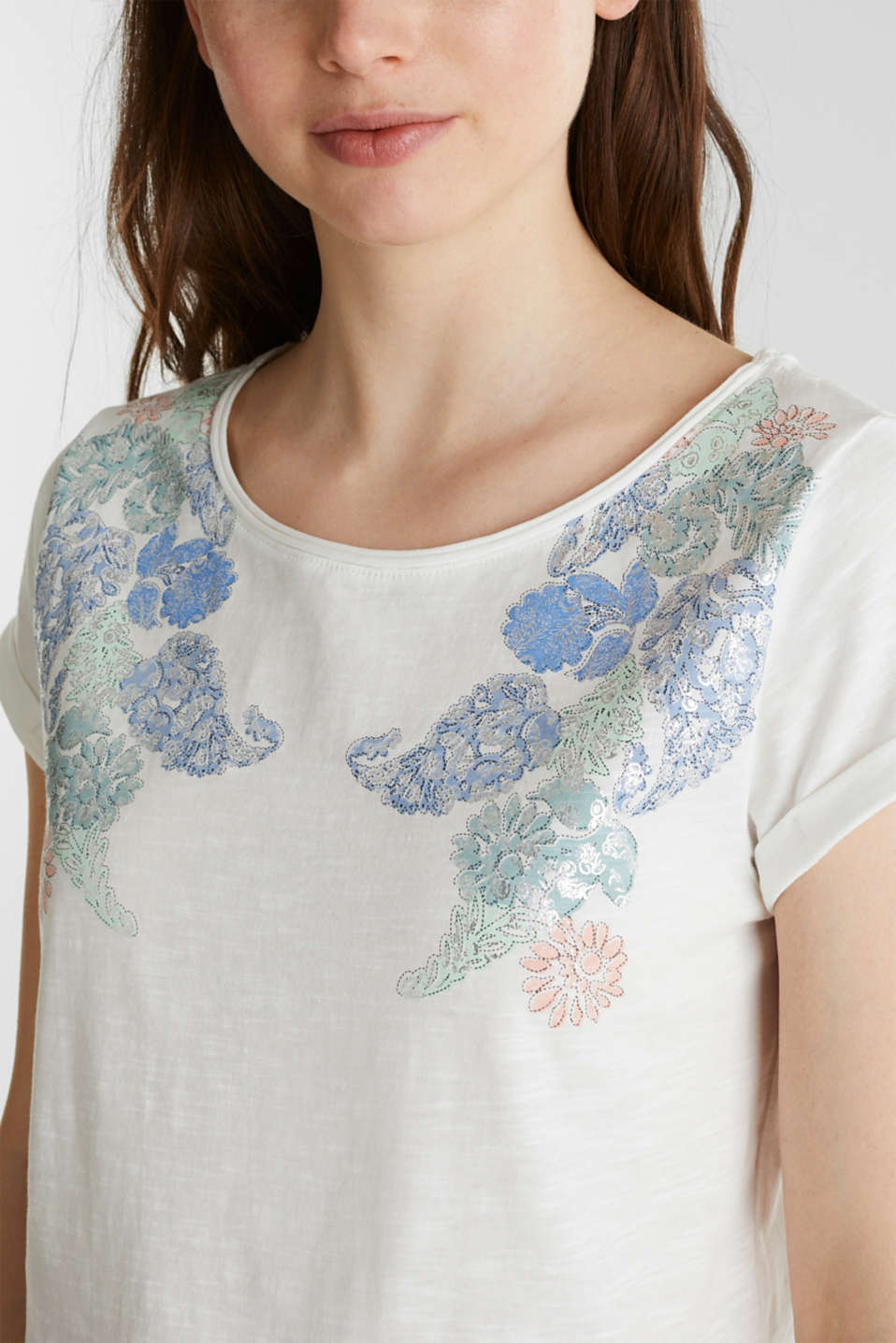 Artwork top made of 100% organic cotton, OFF WHITE, detail image number 1