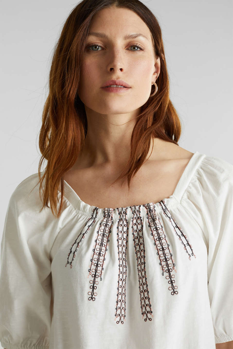 Embroidered top, 100% organic cotton, OFF WHITE, detail image number 5