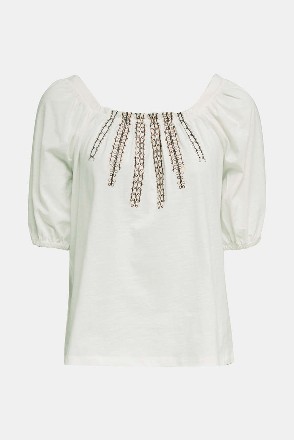 Embroidered top, 100% organic cotton, OFF WHITE, detail image number 6