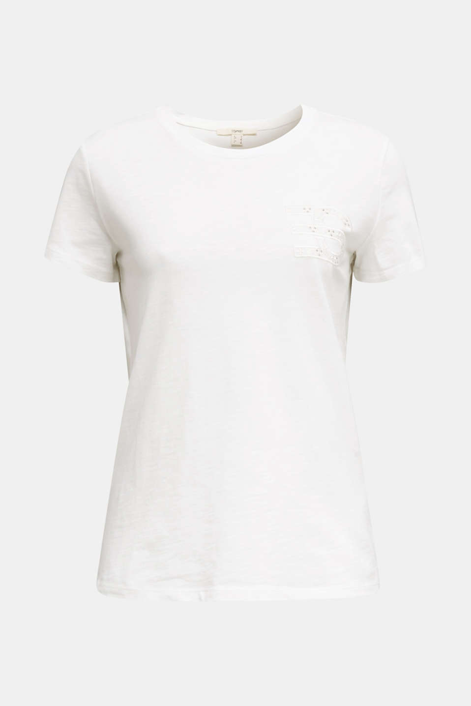 Embroidered tee, 100% organic cotton, WHITE, detail image number 5