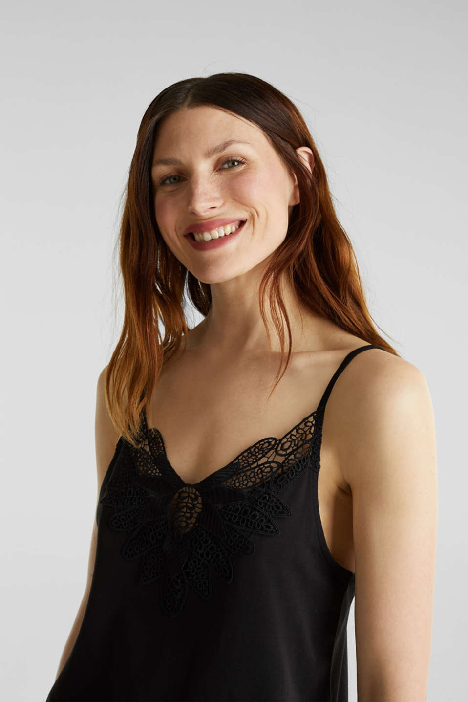 Vest top with lace, BLACK, detail image number 4