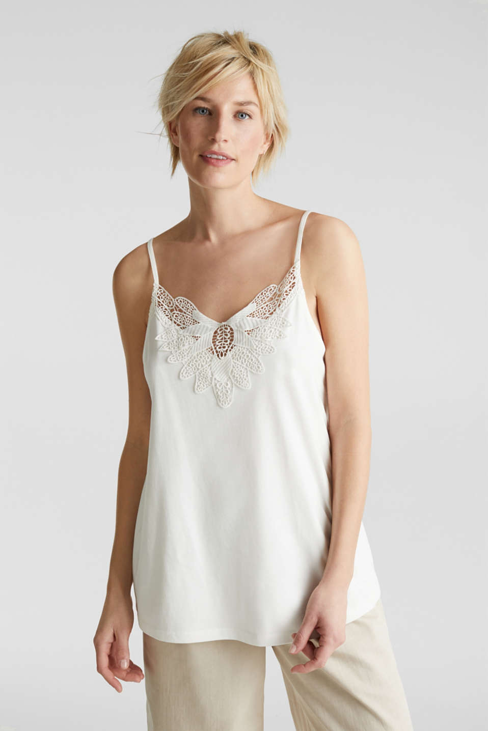 Esprit - Vest top with lace