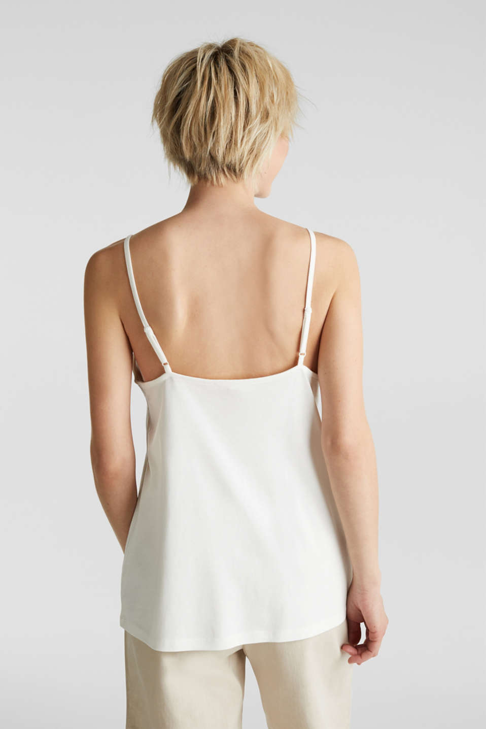 Vest top with lace, OFF WHITE, detail image number 3