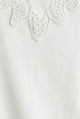 Vest top with lace, OFF WHITE, detail