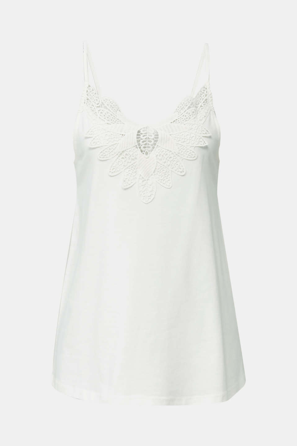 Vest top with lace, OFF WHITE, detail image number 6