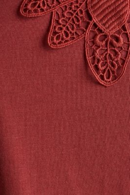 Vest top with lace, DARK RED, detail