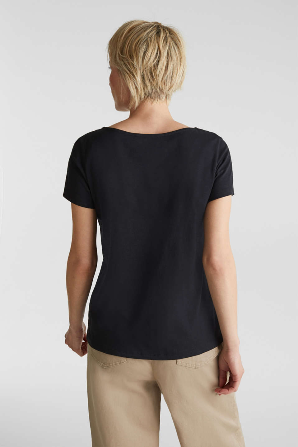 Cotton top with a lace insert, BLACK, detail image number 3