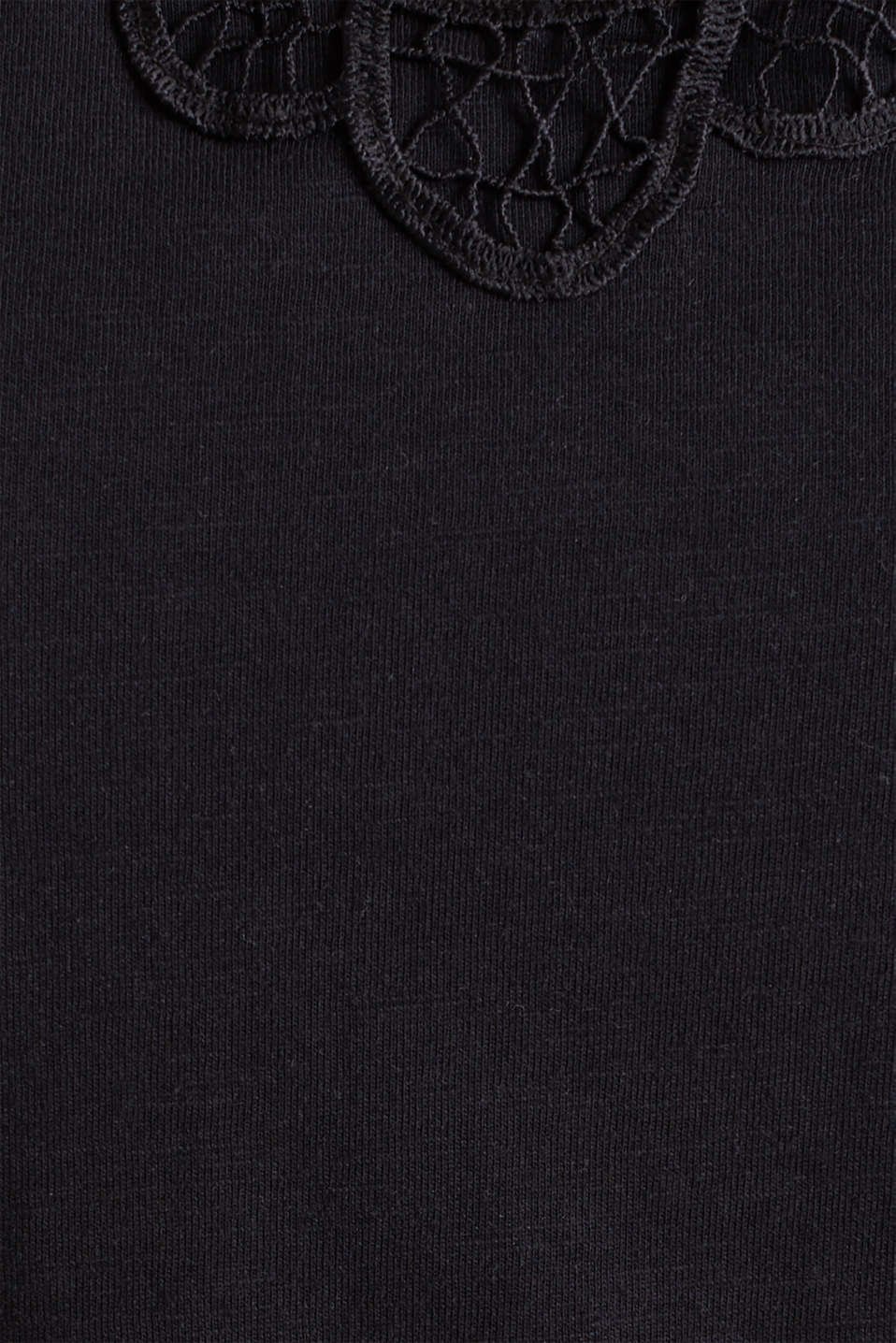 Cotton top with a lace insert, BLACK, detail image number 4