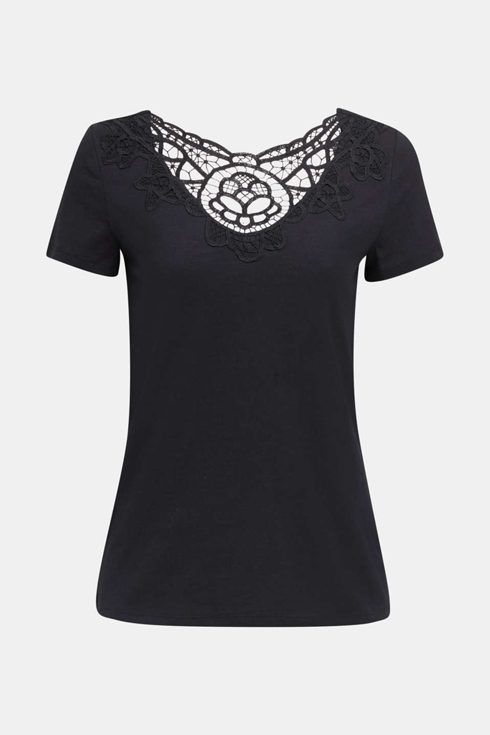 Cotton top with a lace insert, BLACK, detail image number 5