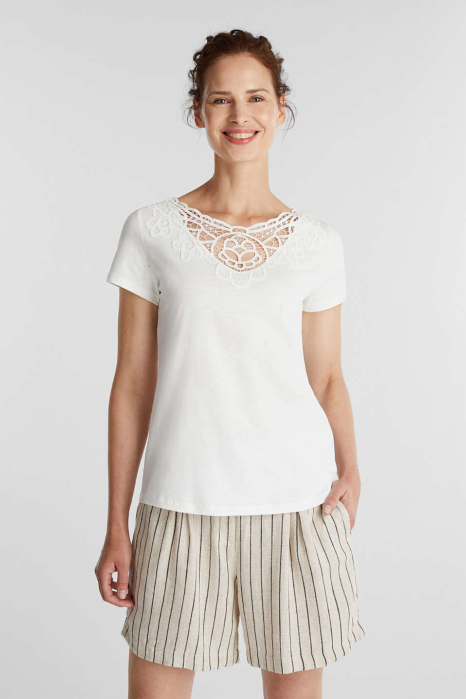 Cotton top with a lace insert, OFF WHITE, detail image number 0