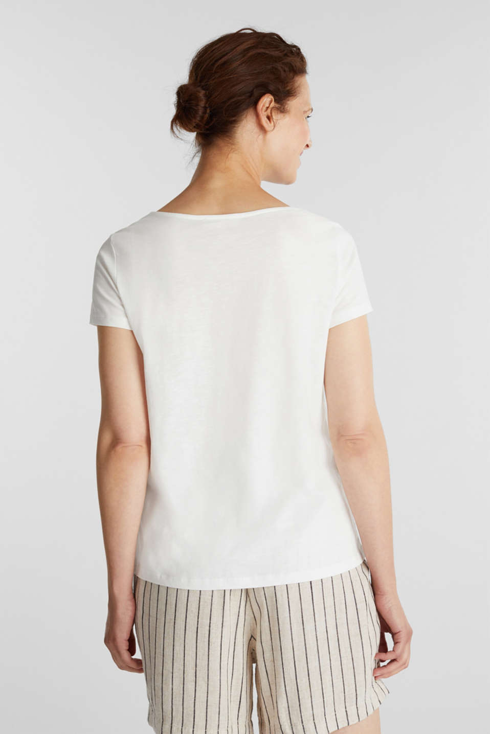 Cotton top with a lace insert, OFF WHITE, detail image number 3