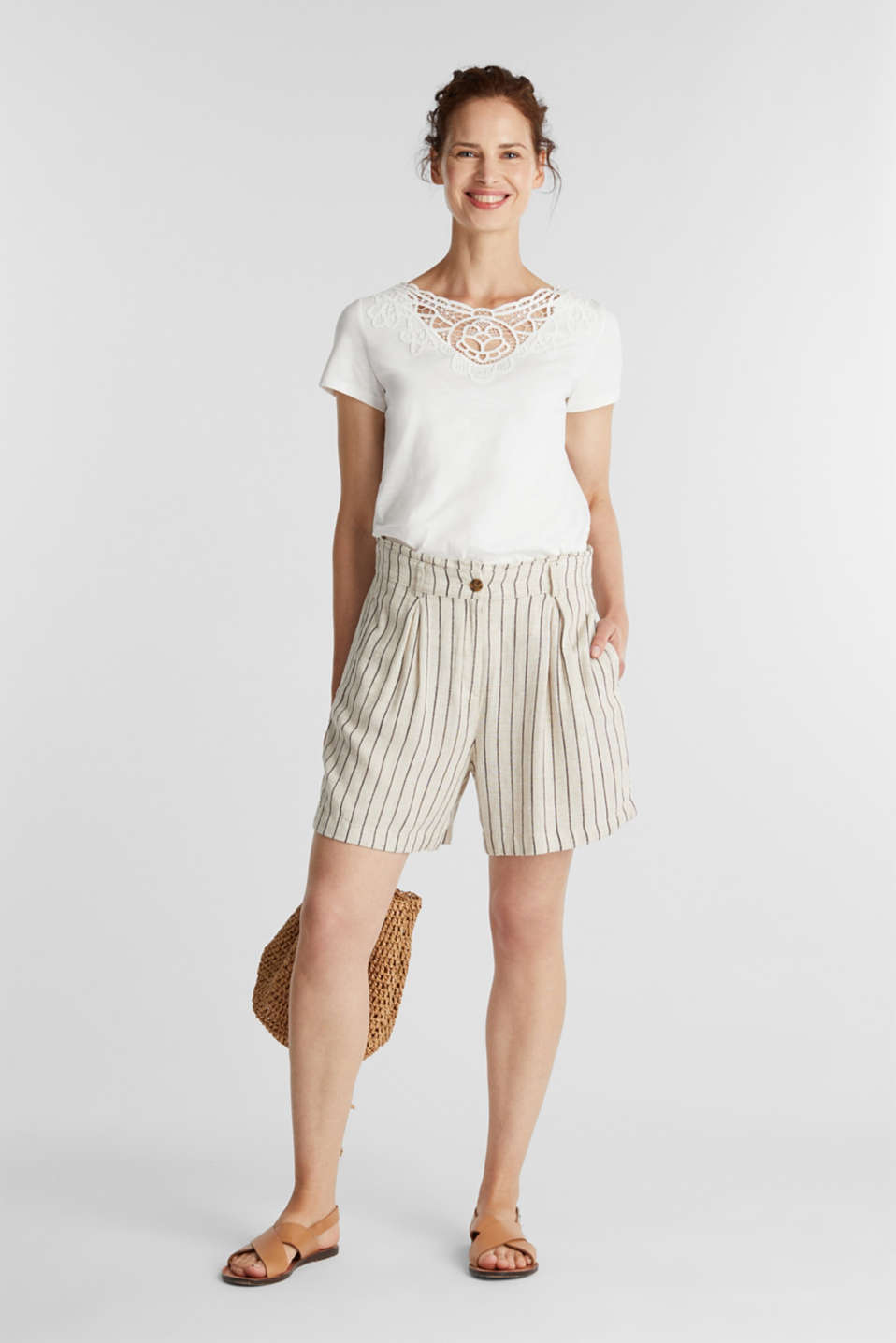 Cotton top with a lace insert, OFF WHITE, detail image number 1