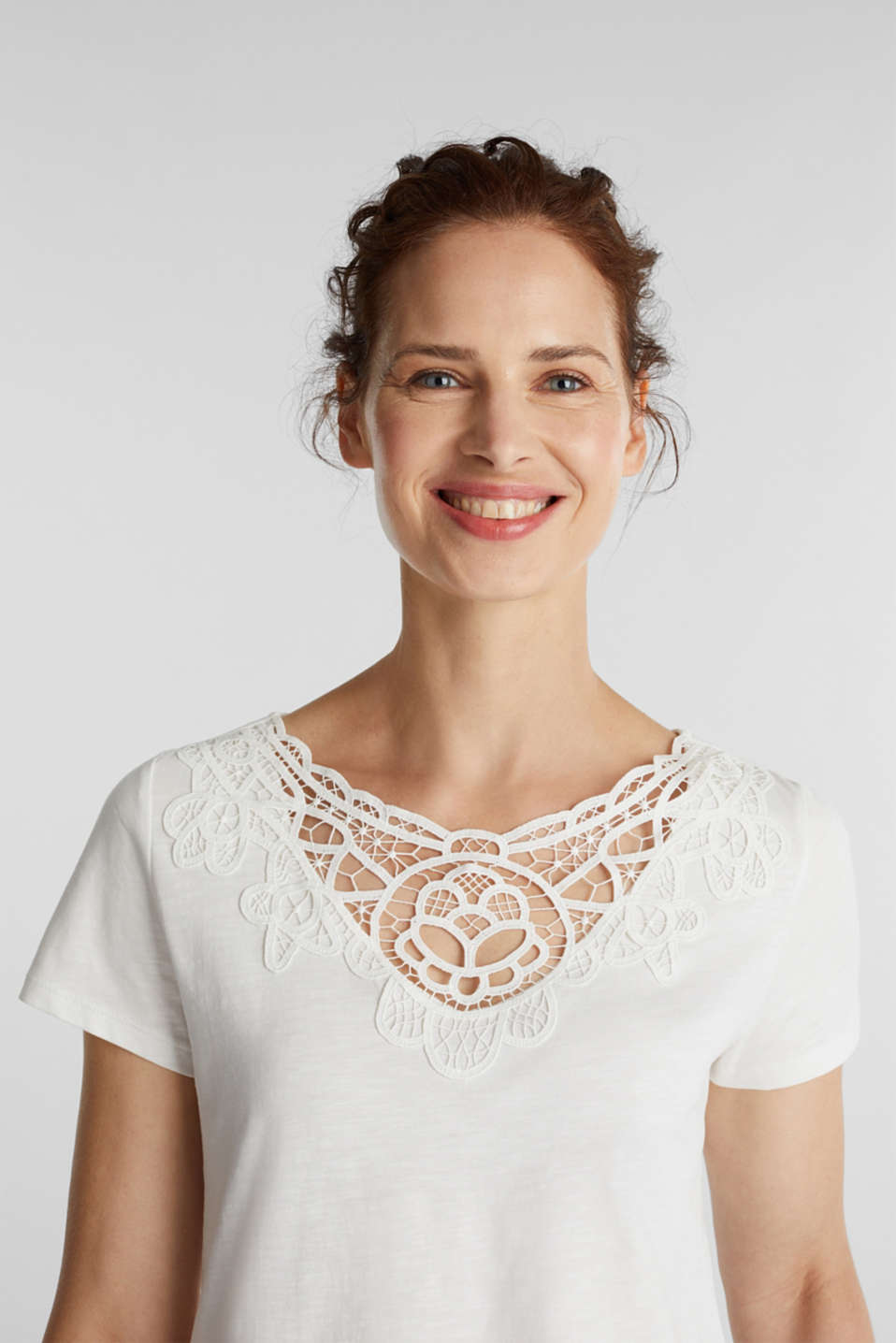 Cotton top with a lace insert, OFF WHITE, detail image number 5