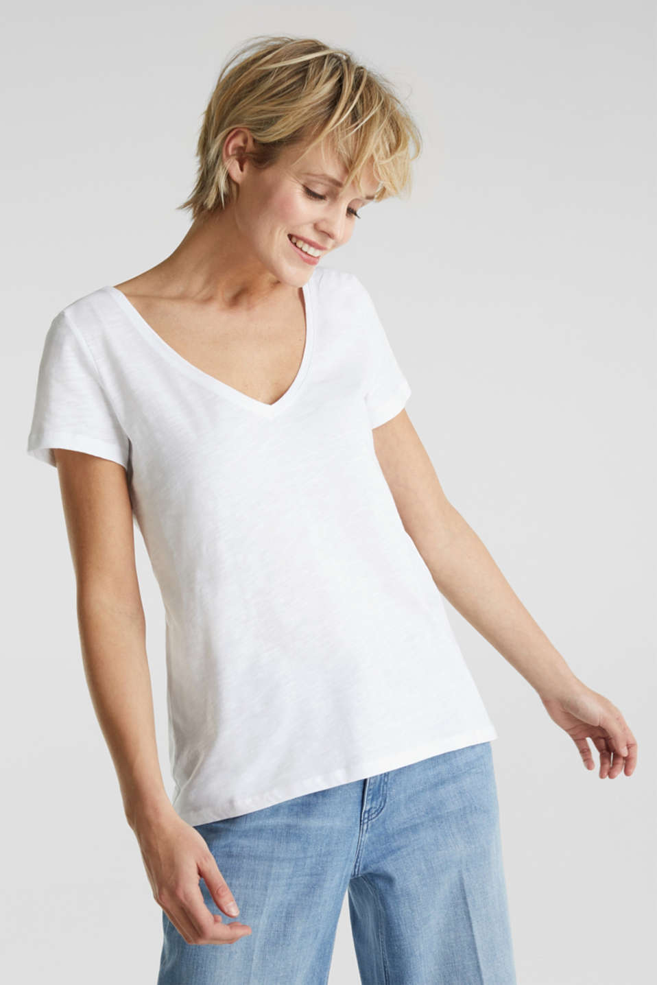 Top with lace, 100% organic cotton, WHITE, detail image number 0