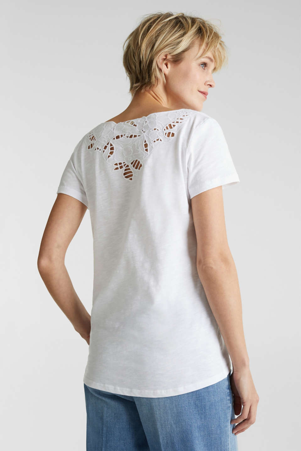 Top with lace, 100% organic cotton, WHITE, detail image number 2