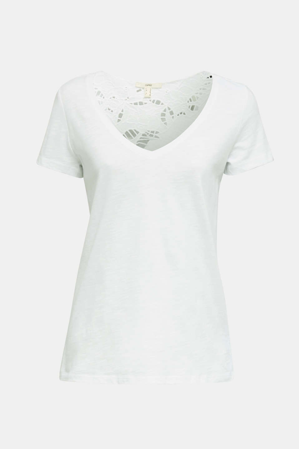 Top with lace, 100% organic cotton, WHITE, detail image number 5