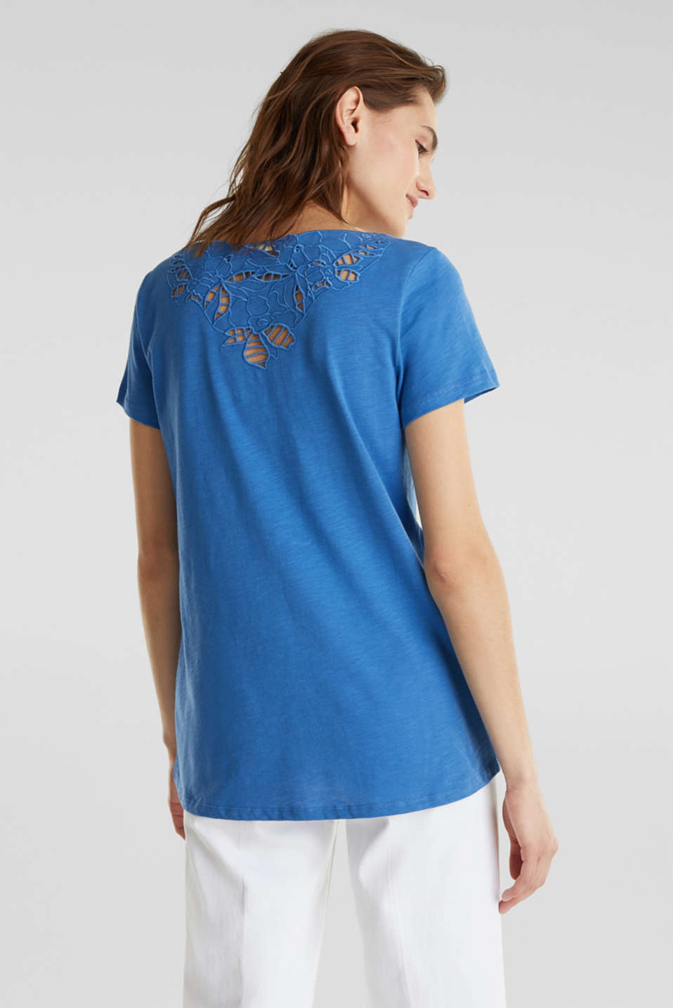 Top with lace, 100% organic cotton, BRIGHT BLUE, detail image number 2