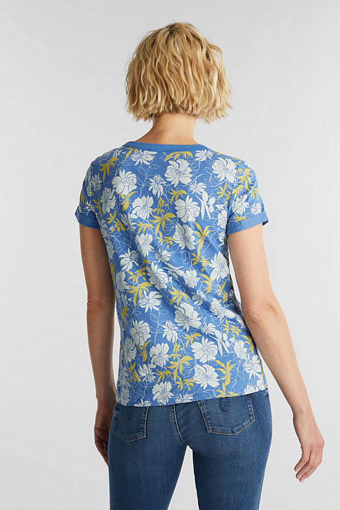 Print top with linen, BRIGHT BLUE, detail image number 3