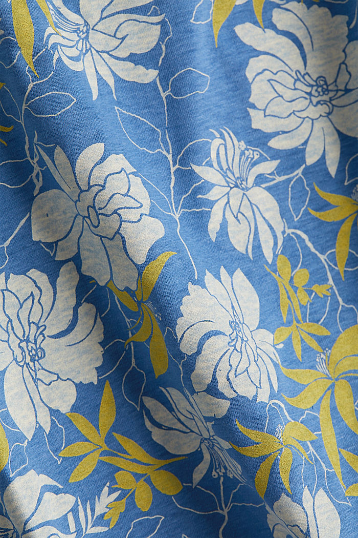 Print top with linen, BRIGHT BLUE, detail image number 4