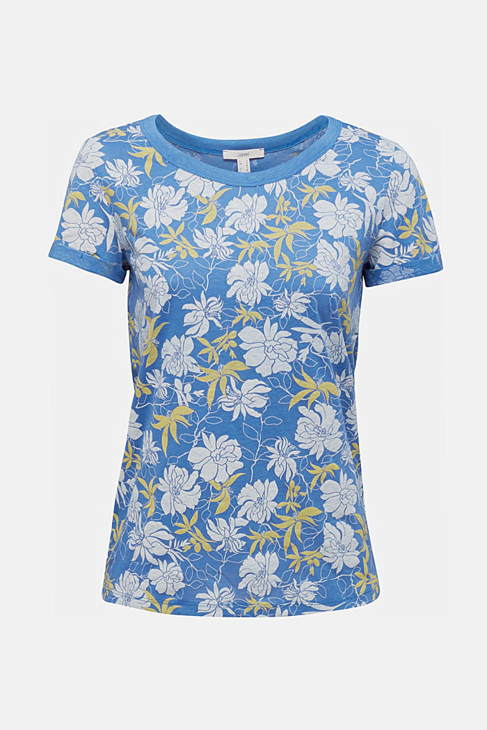 Print top with linen, BRIGHT BLUE, detail image number 5