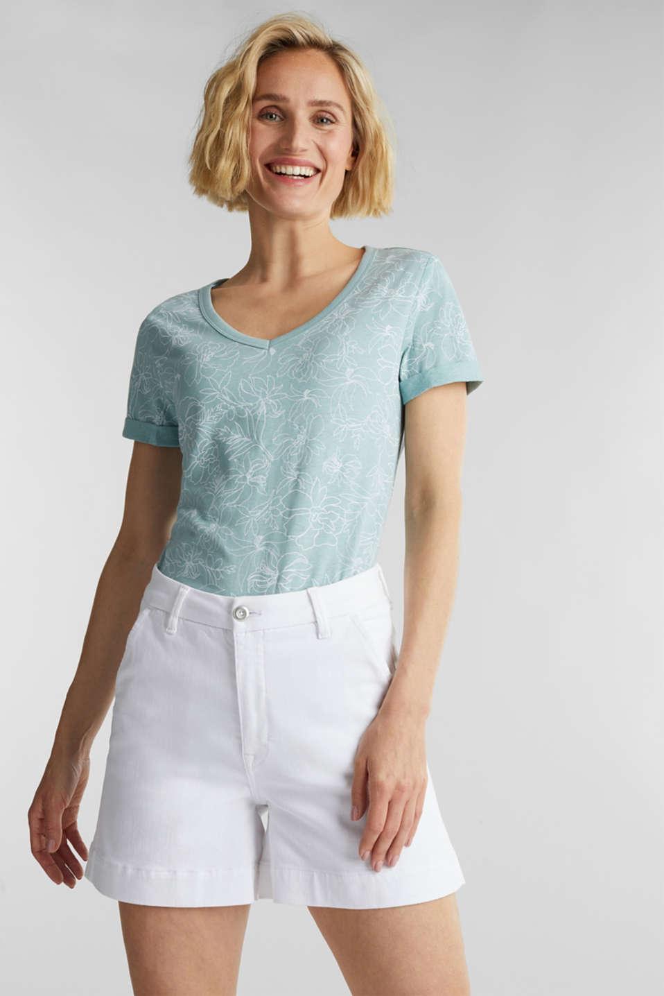 Blended linen V-neck top with a print, LIGHT AQUA GREEN 4, detail image number 0