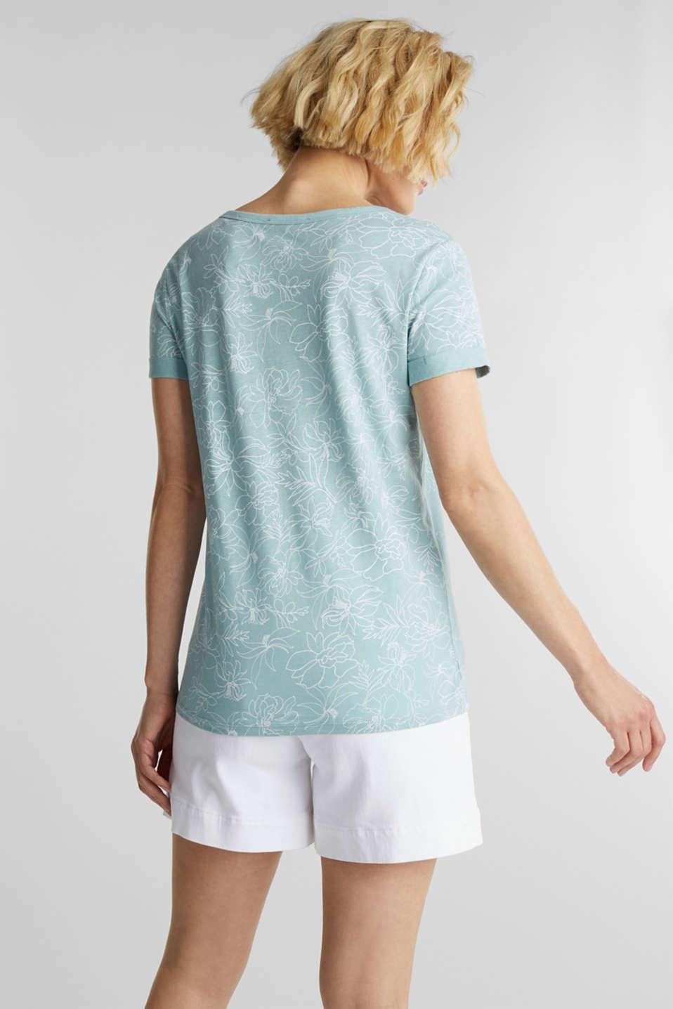 Blended linen V-neck top with a print, LIGHT AQUA GREEN 4, detail image number 3