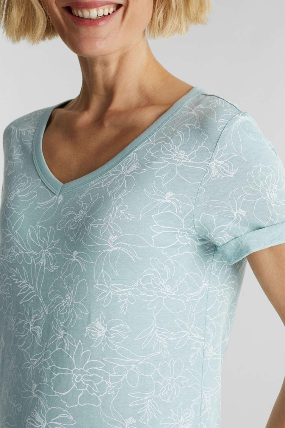 Blended linen V-neck top with a print, LIGHT AQUA GREEN 4, detail image number 2