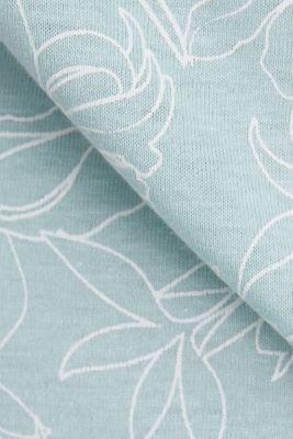 Blended linen V-neck top with a print, LIGHT AQUA GREEN 4, detail
