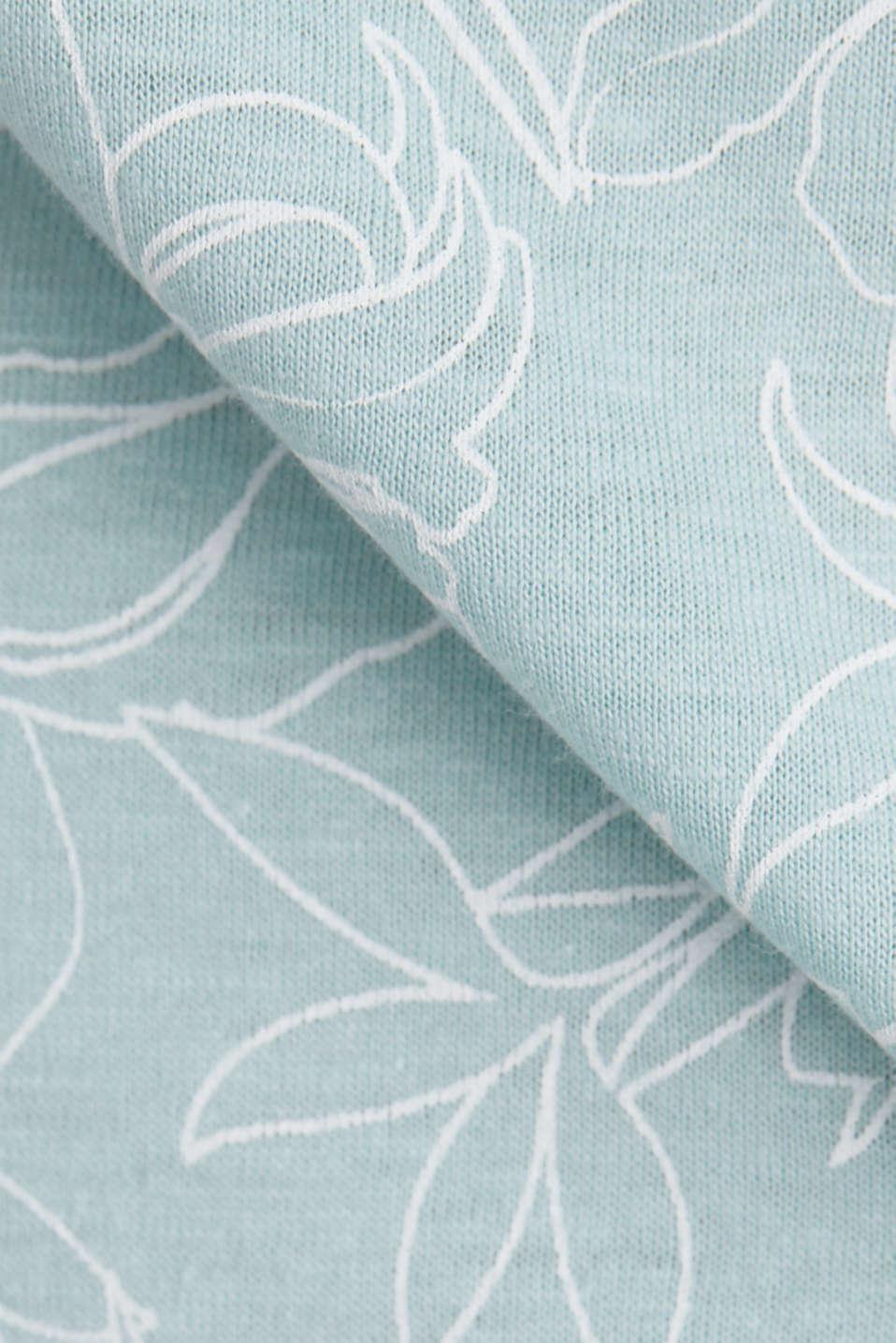 Blended linen V-neck top with a print, LIGHT AQUA GREEN 4, detail image number 4