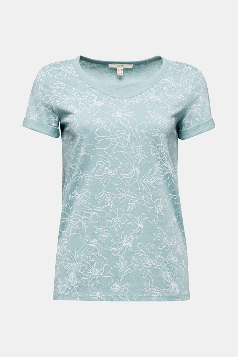 Blended linen V-neck top with a print, LIGHT AQUA GREEN 4, detail image number 5