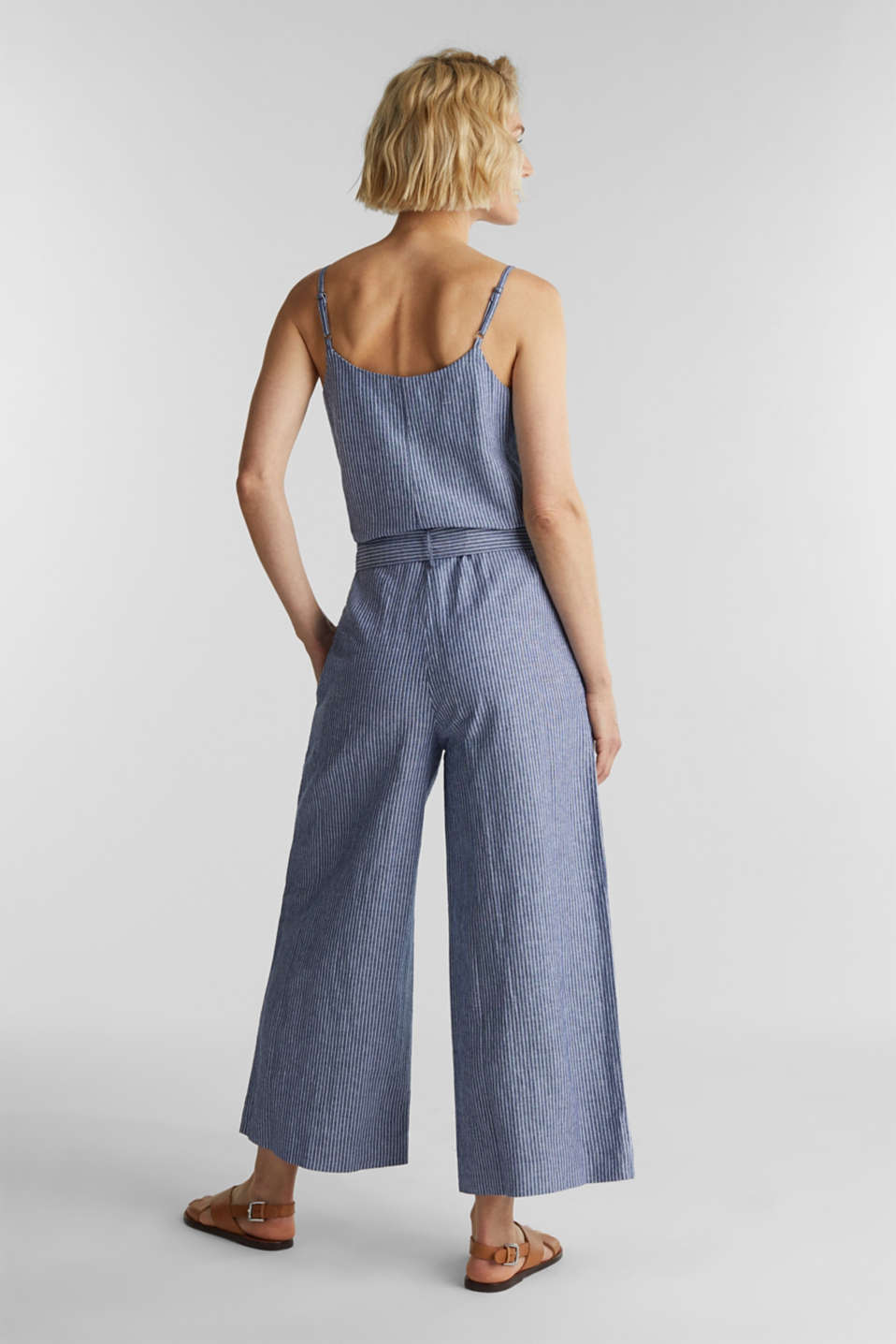 With linen: jumpsuit with a wide leg, DARK BLUE 3, detail image number 2
