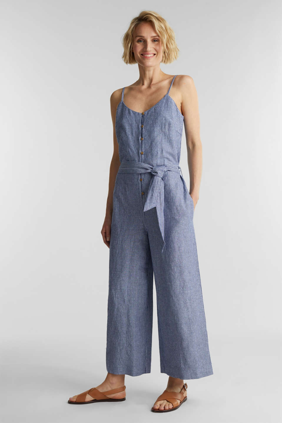 With linen: jumpsuit with a wide leg, DARK BLUE 3, detail image number 1