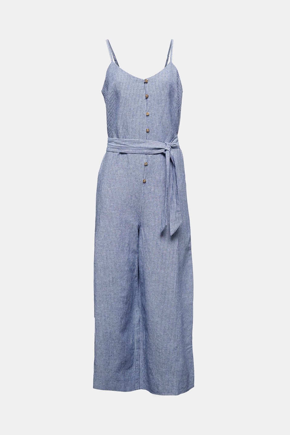 With linen: jumpsuit with a wide leg, DARK BLUE 3, detail image number 4