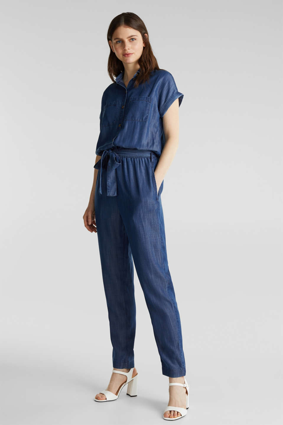 Esprit - Van TENCEL™: denim jumpsuit