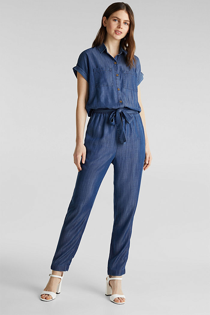 Made of TENCEL™: denim jumpsuit, BLUE DARK WASHED, detail image number 1