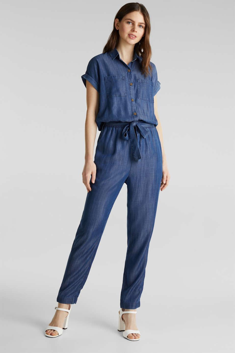 Made of TENCEL™: denim-look jumpsuit, BLUE DARK WASH, detail image number 1