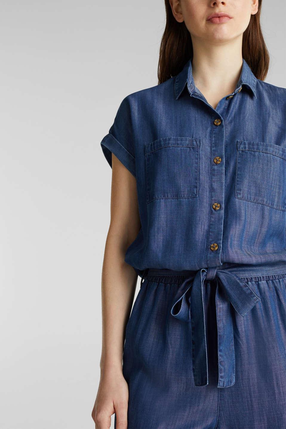 Made of TENCEL™: denim-look jumpsuit, BLUE DARK WASH, detail image number 3
