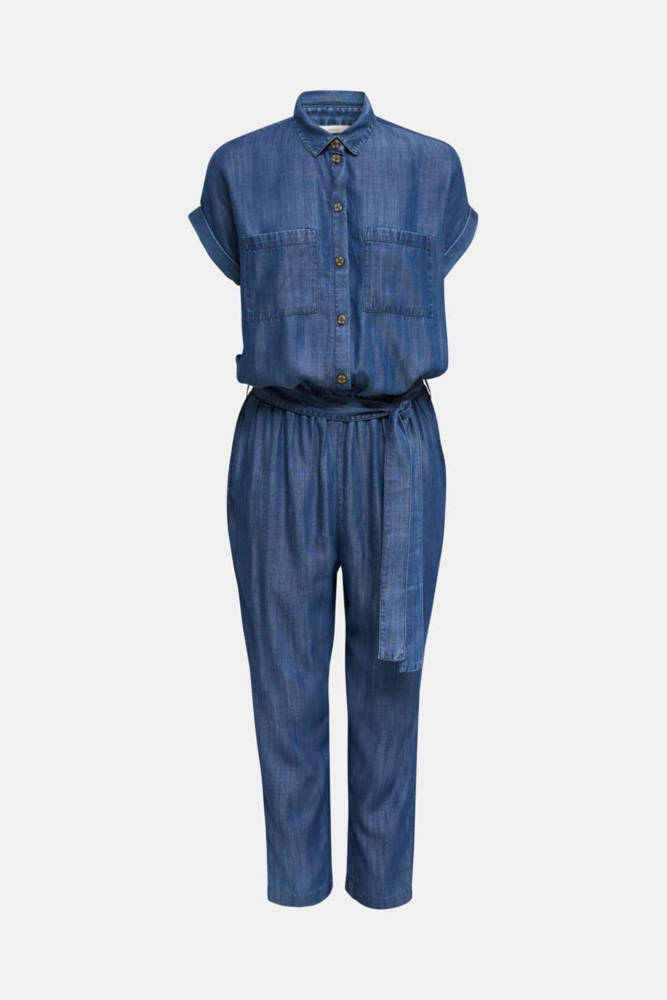 Made of TENCEL™: denim-look jumpsuit, BLUE DARK WASH, detail image number 5