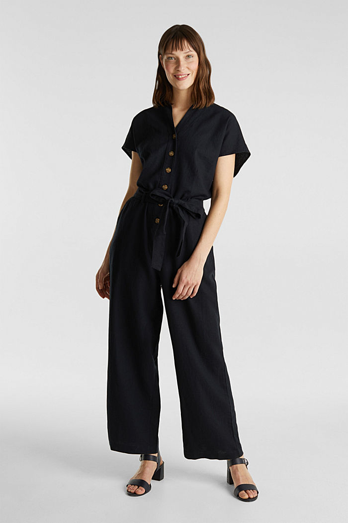Linen blend: jumpsuit with a collar, BLACK, detail image number 0