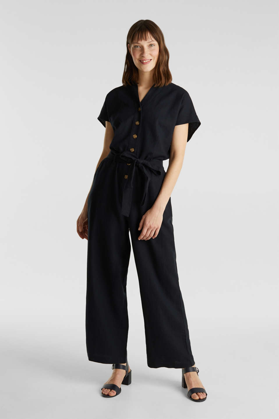Linen blend: jumpsuit with a collar, BLACK, detail image number 0