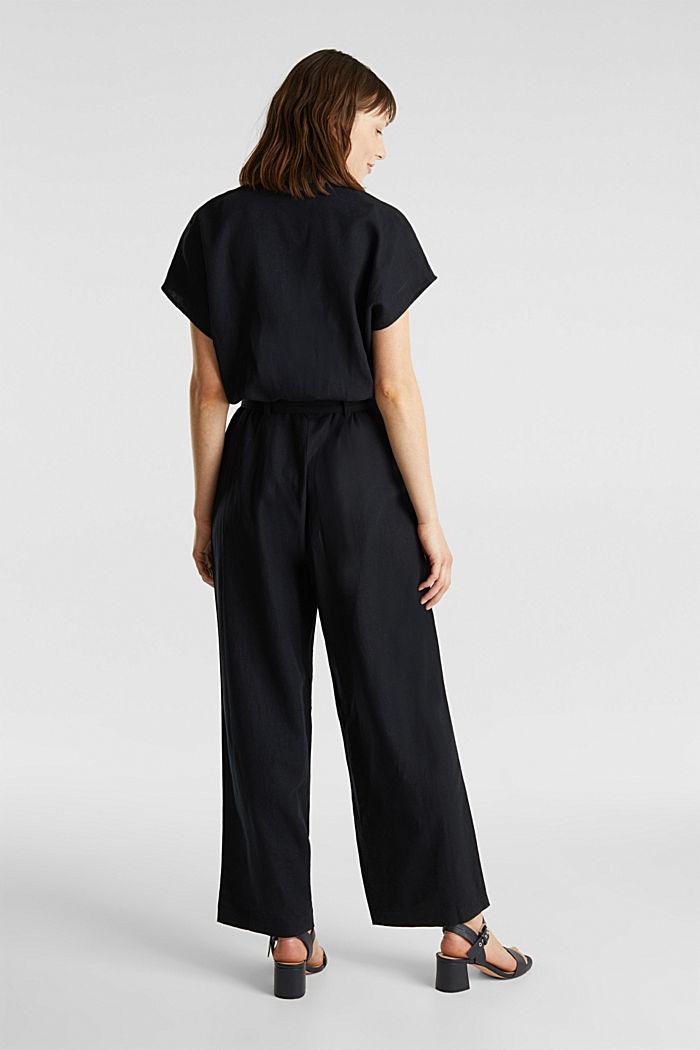 Linen blend: jumpsuit with a collar, BLACK, detail image number 3