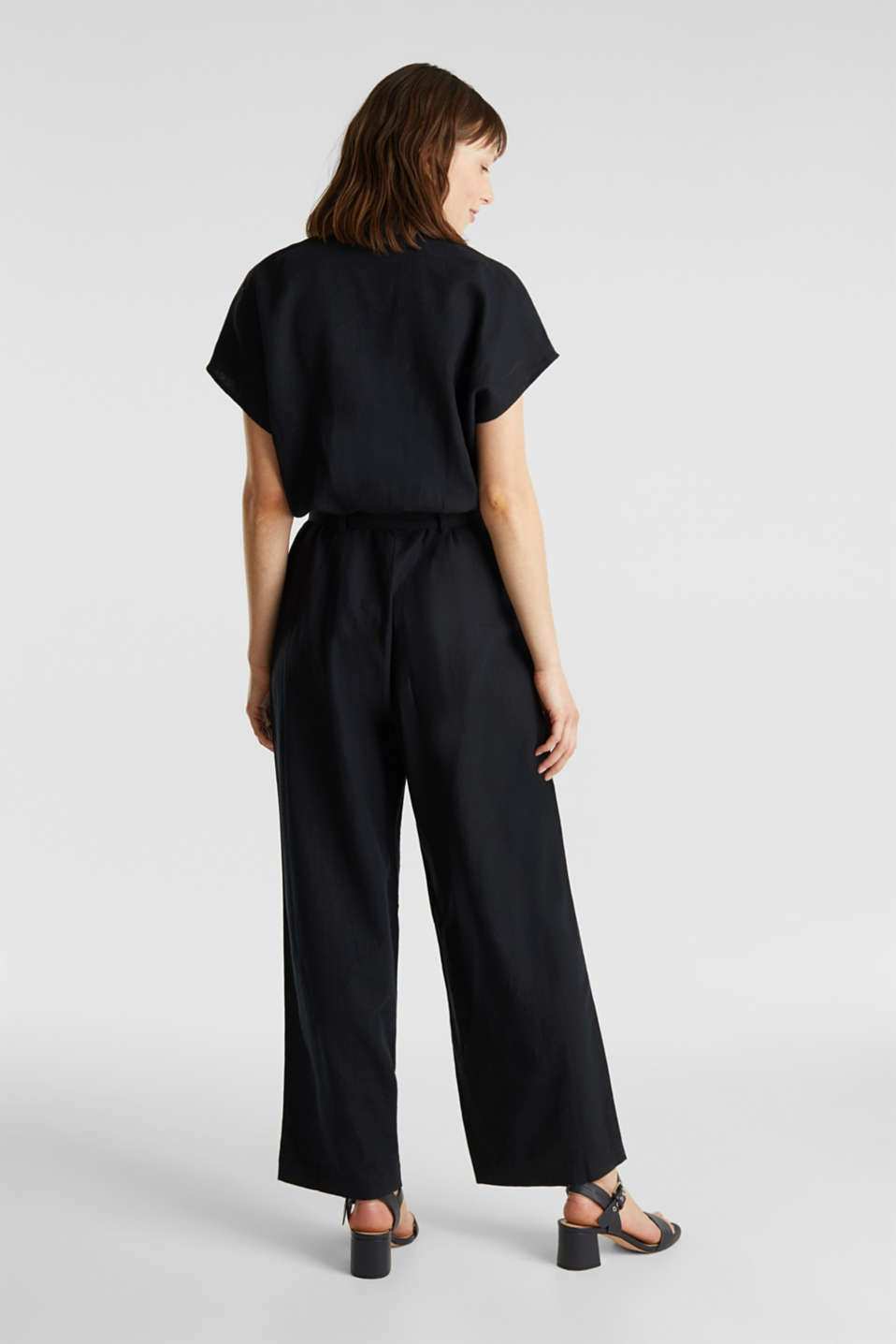 Linen blend: jumpsuit with a collar, BLACK, detail image number 3