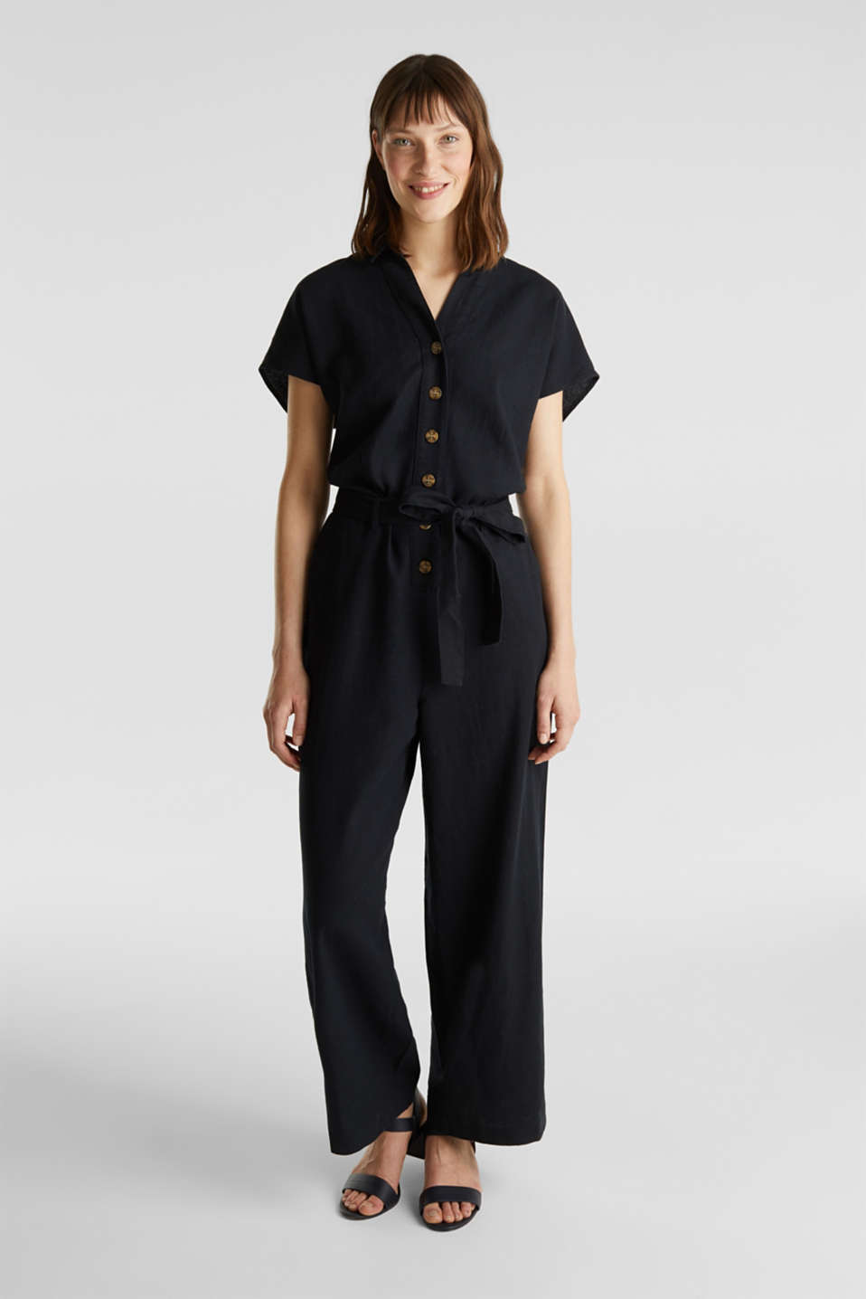Linen blend: jumpsuit with a collar, BLACK, detail image number 1
