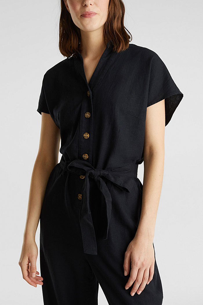 Linen blend: jumpsuit with a collar, BLACK, detail image number 2