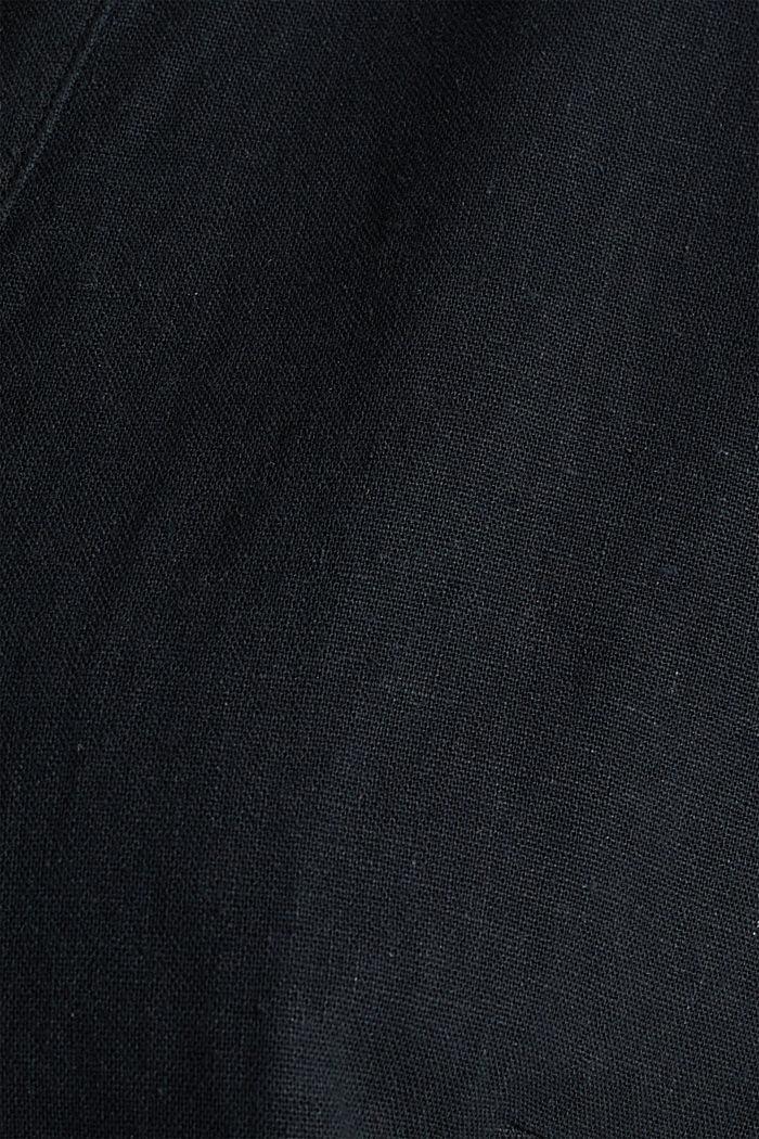 Linen blend: jumpsuit with a collar, BLACK, detail image number 4
