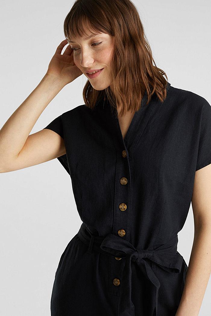 Linen blend: jumpsuit with a collar, BLACK, detail image number 5