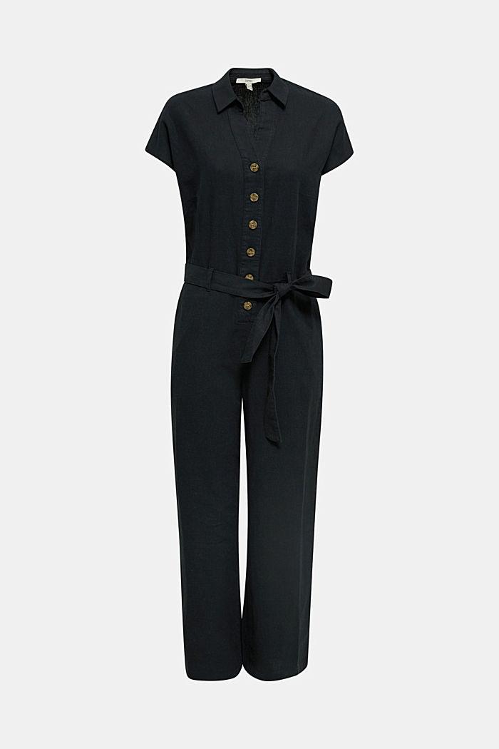 Linen blend: jumpsuit with a collar, BLACK, detail image number 6