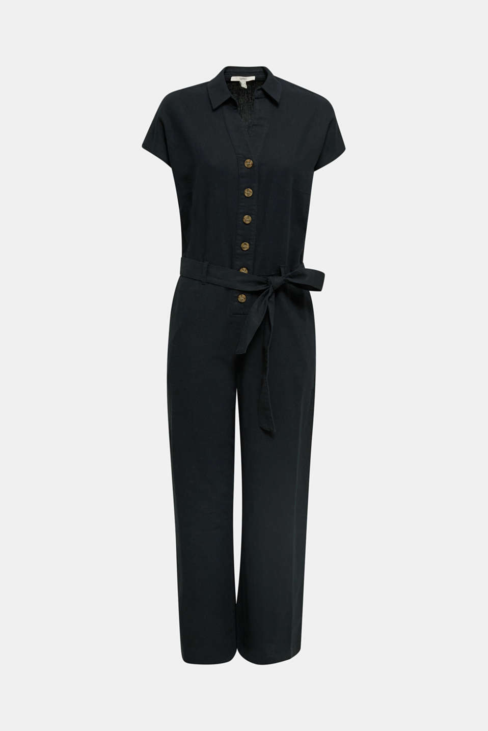 Linen blend: jumpsuit with a collar, BLACK, detail image number 6