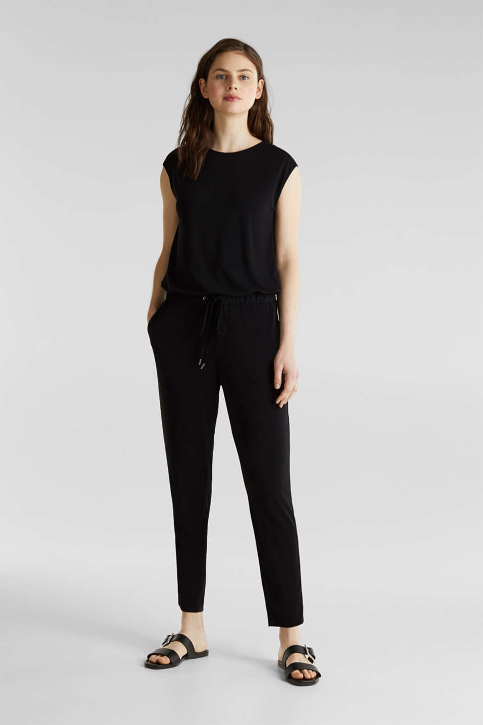 Jersey jumpsuit with lace back, BLACK, detail image number 0